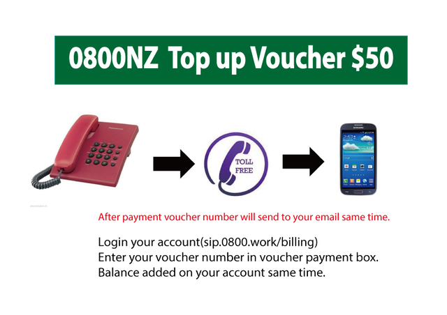 0800 NZ Top up $50 Voucher